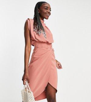 Терракотовое платье миди со свободным воротом и перекрученной отделкой на юбке ASOS DESIGN Tall-Розовый цвет Tall