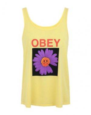 Майка OBEY. Цвет: желтый