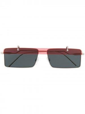 Солнцезащитные очки с откидными линзами Emporio Armani. Цвет: серебристый
