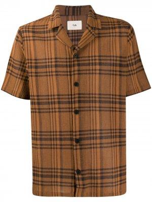 Рубашка в клетку Folk. Цвет: коричневый