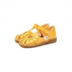 Кожаные босоножки Angulus. Цвет: жёлтый
