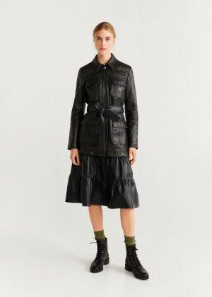 Кожаная юбка с кокеткой - Voila-i Mango. Цвет: черный