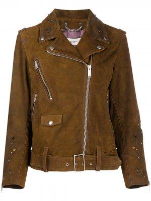 Байкерская куртка с заклепками Golden Goose. Цвет: коричневый