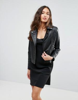 Кожаная куртка Barneys Originals Barney's. Цвет: черный