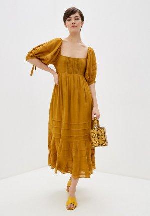 Платье Free People. Цвет: коричневый