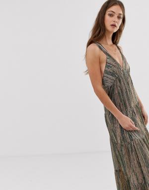 Платье макси в блестящую полоску Salsa BA&SH. Цвет: зеленый