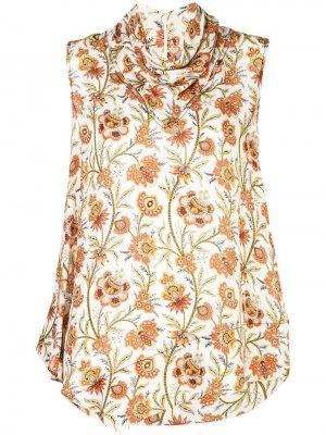 Блузка без рукавов с цветочным принтом Derek Lam. Цвет: белый
