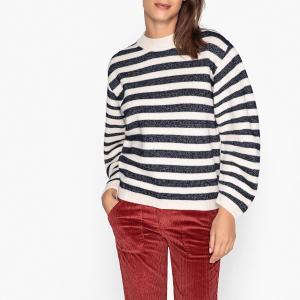 Пуловер с круглым вырезом из тонкого трикотажа SUNDAY BA&SH. Цвет: экрю/ черный