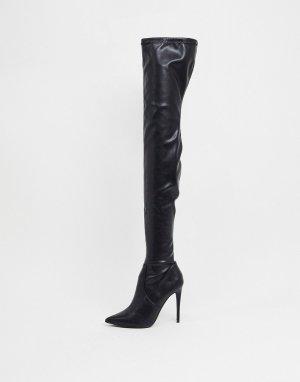 Черные ботфорты на каблуке -Черный Steve Madden