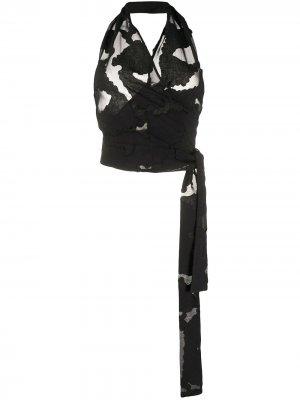 Полупрозрачный топ с вырезом халтер Federica Tosi. Цвет: черный