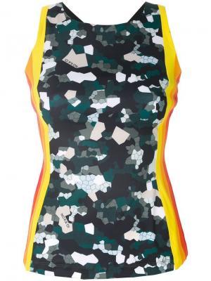 No Ka Oi майка с полосками и мозаичным камуфляжным принтом Ka'. Цвет: разноцветный