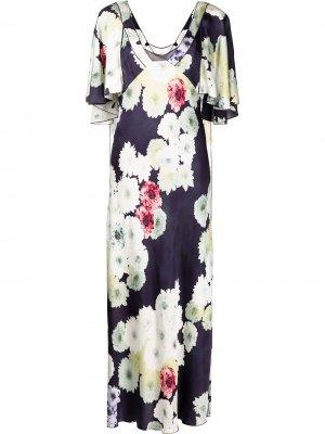 Платье с цветочным принтом и драпировкой Jason Wu Collection. Цвет: синий