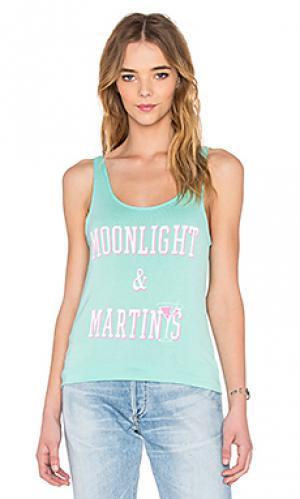 Майка без рукавов moonlight & martinis Junk Food. Цвет: бирюзовый