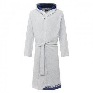 Хлопковый халат BOSS. Цвет: серый