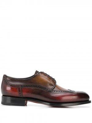 Броги на шнуровке с перфорацией Santoni. Цвет: коричневый