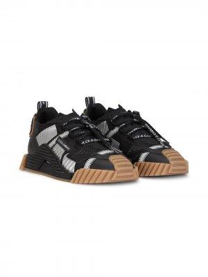 Кроссовки со вставками Dolce & Gabbana Kids. Цвет: черный