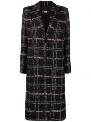 Пальто строгого кроя с логотипом Karl Lagerfeld. Цвет: черный
