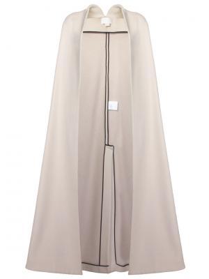 Шерстяное пальто-накидка Antonio Berardi. Цвет: бежевый