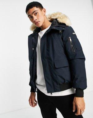 Темно-синяя короткая куртка-парка со съемным искусственным мехом на капюшоне Keyburn-Темно-синий Schott