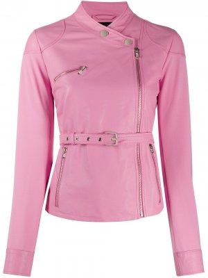 Байкерская куртка с поясом Pinko. Цвет: розовый