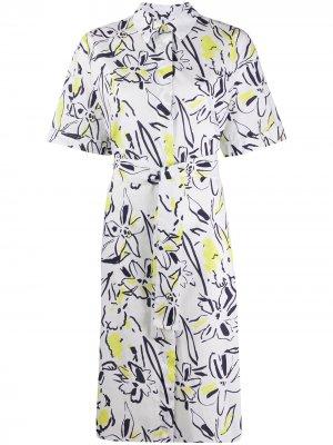 Платье-рубашка с короткими рукавами и цветочным принтом PS Paul Smith. Цвет: белый