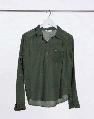 Прозрачная рубашка цвета хаки на пуговицах -Зеленый Hollister
