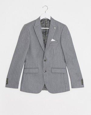 Серо-розовый приталенный пиджак в полоску -Серый Burton Menswear