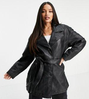 Черная кожаная куртка в стиле 90-х Tall-Синий ASOS DESIGN