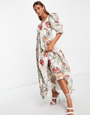 Платье миди с завышенной талией, пышной юбкой и цветочным принтом -Разноцветный ASOS EDITION