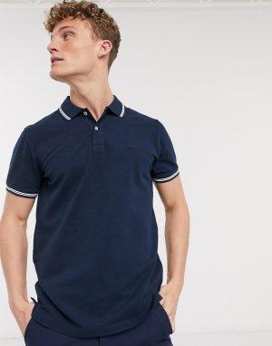 Темно-синяя приталенная футболка-поло с контрастным воротником -Темно-синий American Eagle