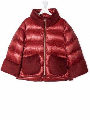 Faux-fur trim padded coat Herno Kids. Цвет: красный