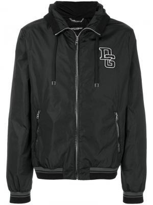 Куртка-бомбер с капюшоном и заплаткой логотипом Dolce & Gabbana. Цвет: черный