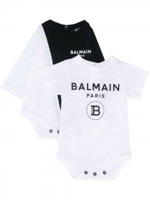 Комплект из двух боди с логотипом Balmain Kids. Цвет: белый