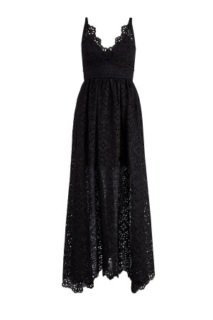 Платье с перфорацией, ажурным лифом и декольтированной спинкой ELIE SAAB. Цвет: черный