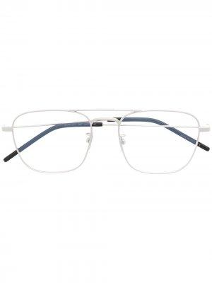 Солнцезащитные очки-авиаторы SL309 с двойным мостом Saint Laurent Eyewear. Цвет: серебристый