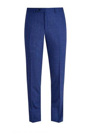 Классические брюки с добавлением льна и принтом в мелованную клетку CANALI. Цвет: синий