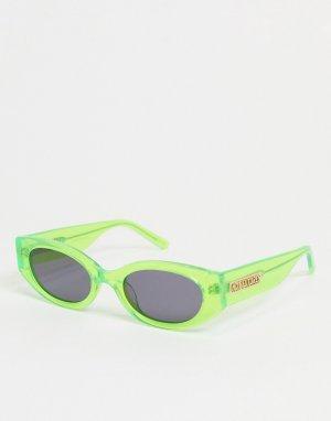 Солнцезащитные овальные очки в узкой оправе неоново-зеленого цвета стиле ретро с логотипом на дужках -Зеленый цвет Hot Futures