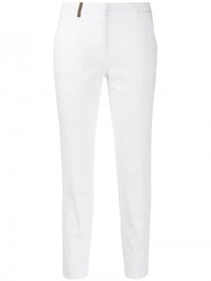 Укороченные брюки чинос строгого кроя Peserico. Цвет: белый