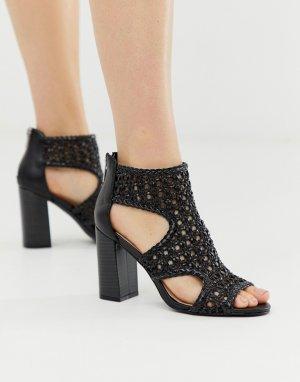 Черные плетеные босоножки на каблуке Faith