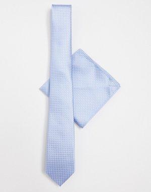 Галстук и платок для пиджака -Голубой Harry Brown