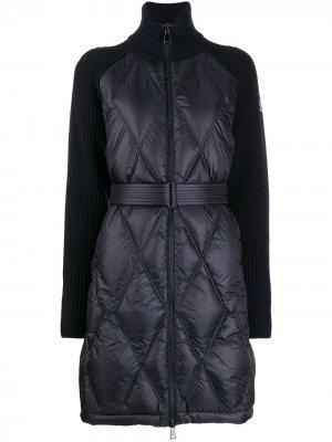 Стеганый кардиган-пальто Moncler. Цвет: синий