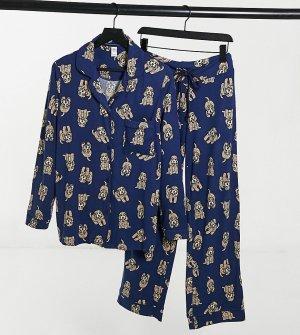 Пижамный комплект с шортами и принтом в виде собачек кокер-пуделей Maternity-Голубой Chelsea Peers