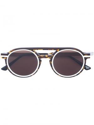 Солнцезащитные очки-авиаторы в округлой оправе Thierry Lasry. Цвет: коричневый