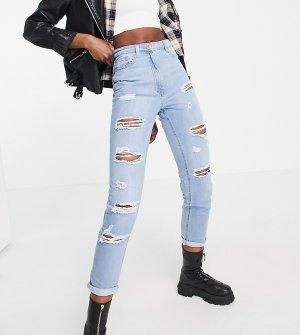 Светлые выбеленные джинсы с рваной отделкой -Голубой Parisian Tall