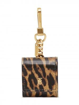 Футляр для наушников с леопардовым принтом Burberry. Цвет: коричневый
