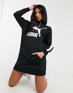 Черное трикотажное платье с логотипом T7-Черный Puma