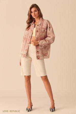 Базовая джинсовая куртка oversize персикового цвета LOVE REPUBLIC