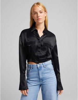 Черная укороченная атласная рубашка -Черный цвет Bershka