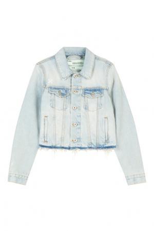 Голубая джинсовая куртка с отделкой Off-white. Цвет: голубой