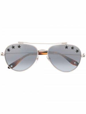 Солнцезащитные очки-авиаторы с принтом Givenchy Eyewear. Цвет: серебристый